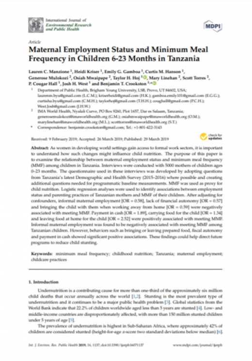 Maternal employment status and minimum meal frequency in children 6-23 Months in Tanzania