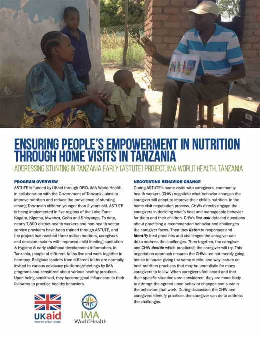 ASTUTE: Ensuring people's empowerment in nutrition through home visits in Tanzania