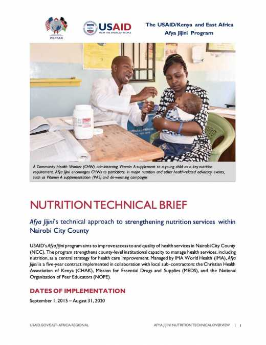 Afya Jijini Nutrition Technical Brief