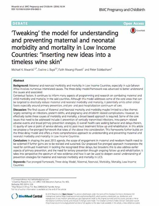 Tweaking the Model for Understanding and preventing Maternal and Neonatal Morbidity and Mortality in Low Income Countries