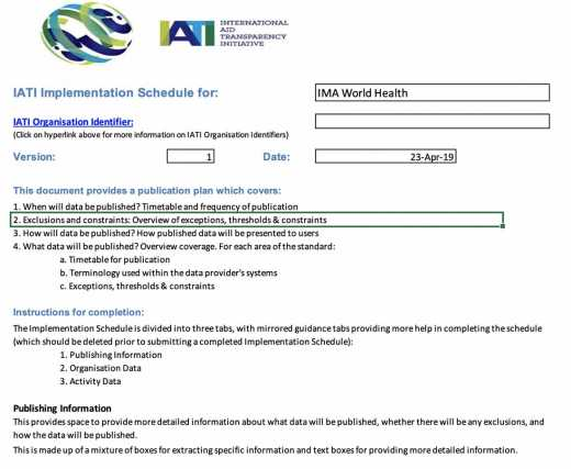 IMA IATI Implementation Schedule For The IATI Registry
