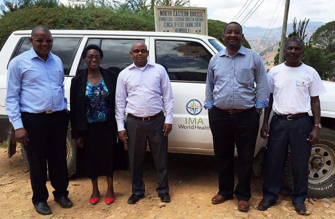 From left to right: Dr. Salehe Mlangwa, IMA Program Officer; Veronica Mkusa, IMA Program Officer; Dr. Paschal Nkii, District Medical Officer, Bumbuli; Dr. Ekandumi Kimoi, IMA Senior Program Manager; and Mr. Rashid Kipingu, a driver.