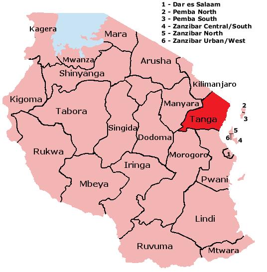 Tanzania Tanga Map