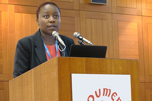 """Theresa Nyamupachitu, Health Systems Strengthening Advisor for IMA World Health, makes a presentation on """"Training and Formation: Lessons learnt and opportunities for ACHAP and CHAs"""" during a WCC-ACHAP event titled """"Global Public Health: The future of faith-based organizations"""" on May 25, 2016, during the 69th World Health Assembly in Geneva, Switzerland. (Photo courtesy of Peter Kenny/WCC)"""