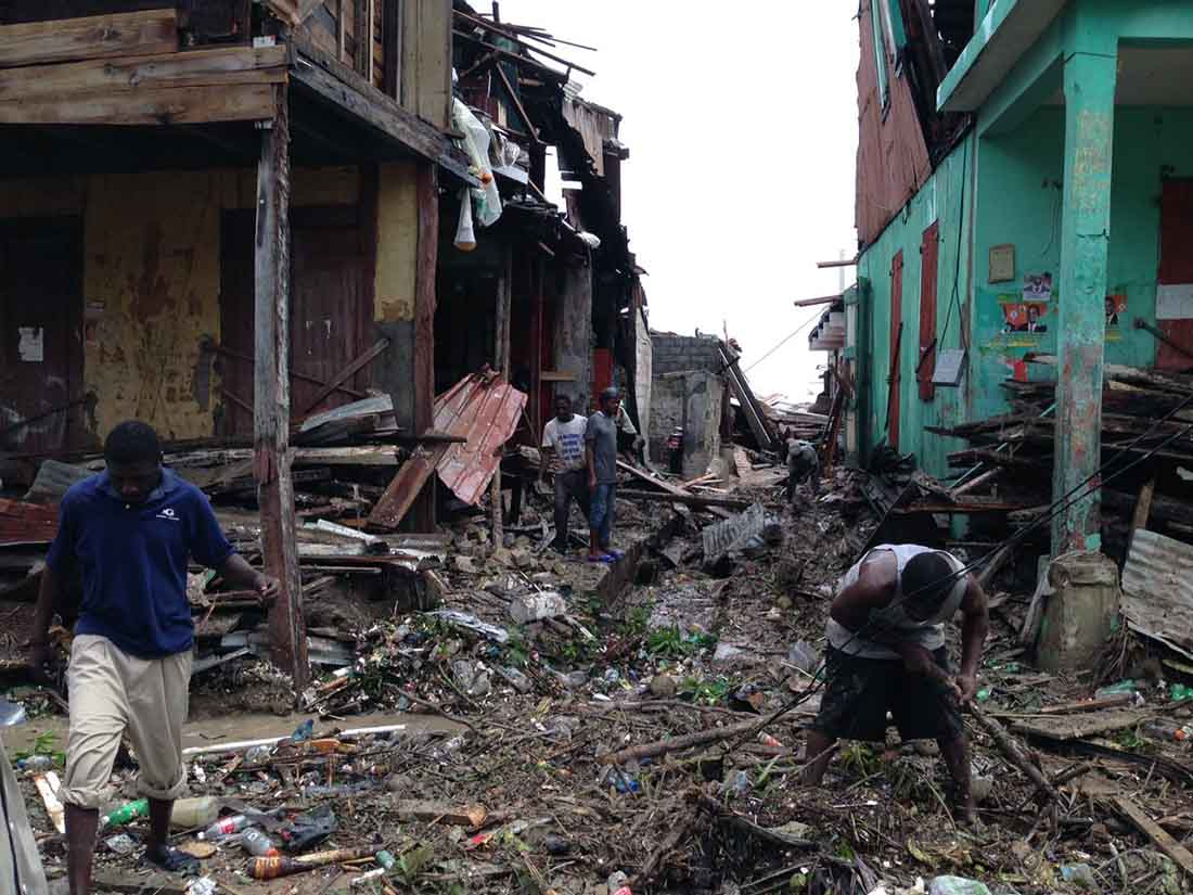 This photo shows some of the damage in the center of Jérémie, where 33 technicians were working on a malaria study for IMA World Health when the Hurricane Matthew battered the area.