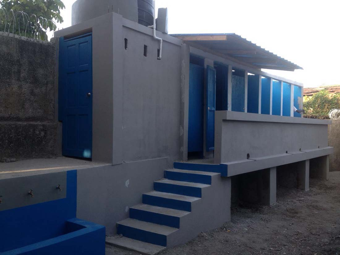 Newly constructed latrines greet students throughout Haiti, thanks to the Healthy Schools, Successful Children program. (Photo by Paul-Emile Dalexis)