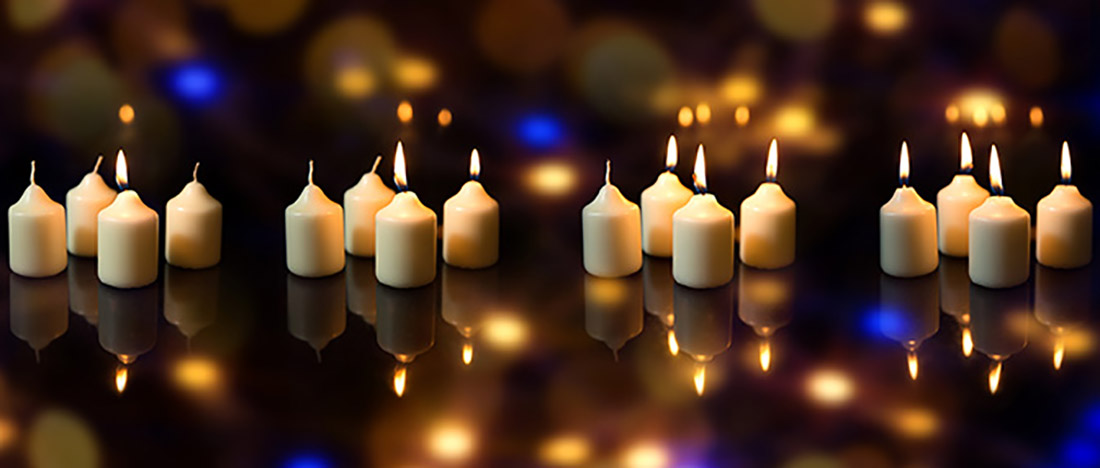 Panorama, Advent Season With A Lot Of Candles, Sparkling Reflect