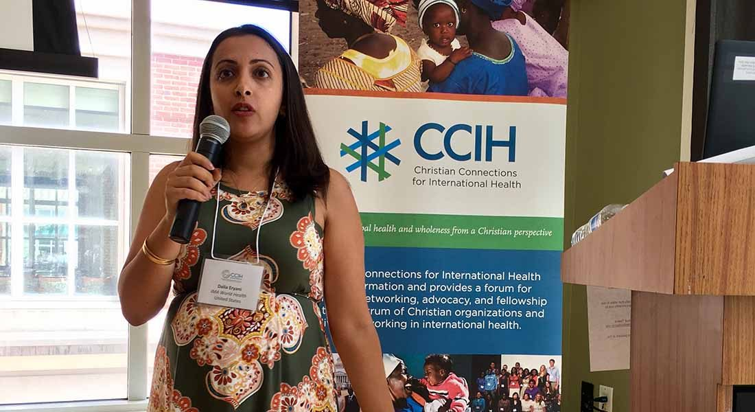 Senior Program Officer Dalia Eryani of IMA World Health talks about responding in the time of multiple famines at the CCIH Annual Conference at Johns Hopkins University.