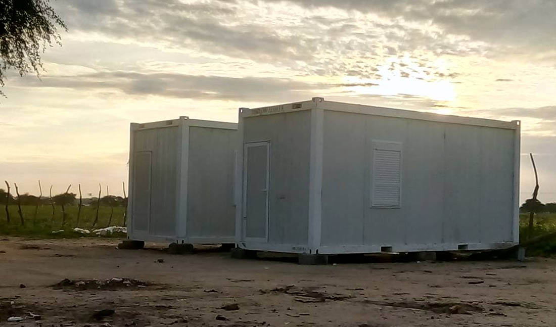 Prefabricated medical clinics stand completed in Pajut in South Sudan. (IMA World Health photo)