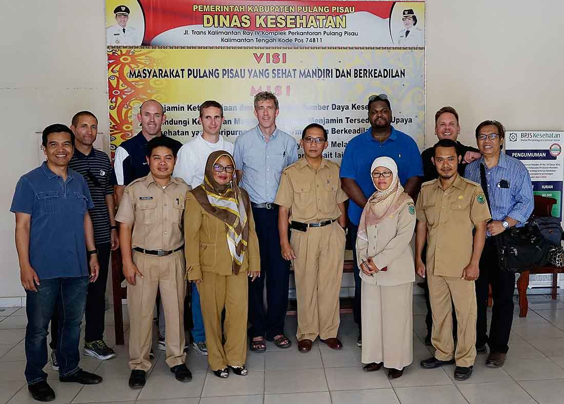 Team members from BYU, IMA World Health and the University of Indonesia meet with government officials from the Ministry of Health in Pulang Pisau District, Central Kalimantan. (Photo by IMA World Health staff)