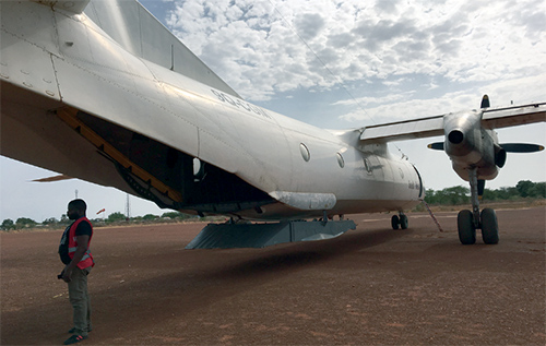 This Antonov An-26 is one of the six cargo planes IMA charters to move supplies to medical facilities in South Sudan. (Photo by Matt Hackworth/IMA World Health)