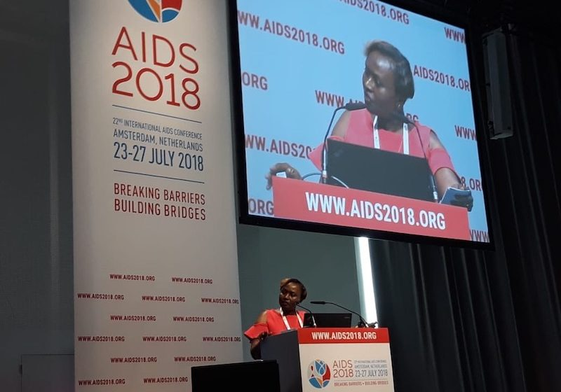 IMA's Mary Muia presented at the 22nd International AIDS Conference on behalf of the USAID/Kenya and East Africa Afya Jijini program. (Photo by Kara Eberle.)