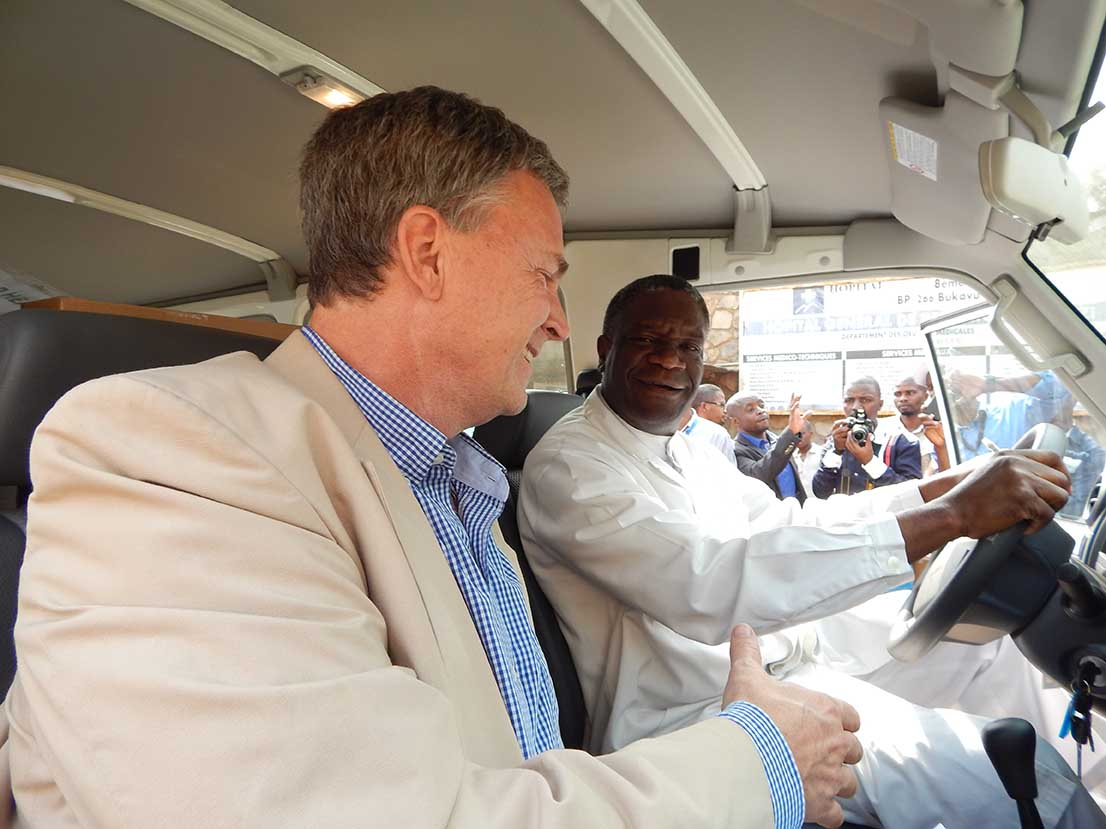 Dr. Bill Clemmer, of IMA World Health, greets Dr. Denis Mukwege, the founder of the Panzi Hospital, a key partner IMA's work to put an end to sexual and gender-based violence in the Democratic Republic of Congo. (IMA World Health photo)