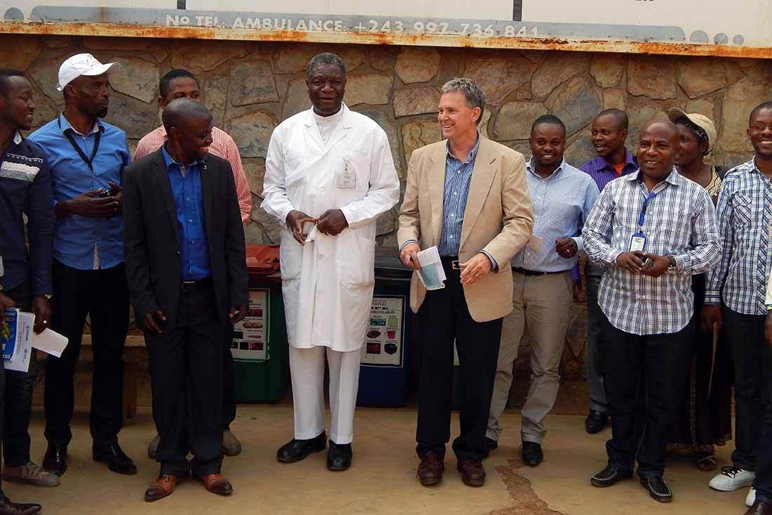 Dr. Denis Mukwege and Dr. Bill Clemmer, IMA World Health Chief of Party, pictured in 2017 when IMA provided Panzi Hospital with a new vehicle for program support as part of the Ushindi Project. (IMA World Health photo)
