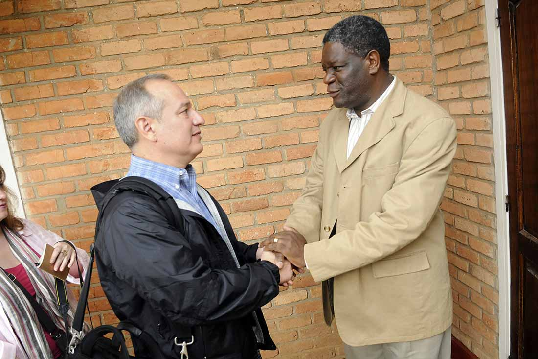 IMA World Health President and CEO Rick Santos meets with Dr. Denis Mukwege during a visit to Panzi Hospital in 2011. (Christopher Glass/IMA World Health)