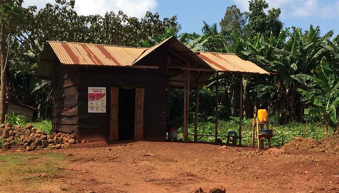 This is a building on the limits of the town of Beni where people are screened for fever and wash their hands before entering (or leaving). (Photo by Dr. William Clemmer/IMA World Health)