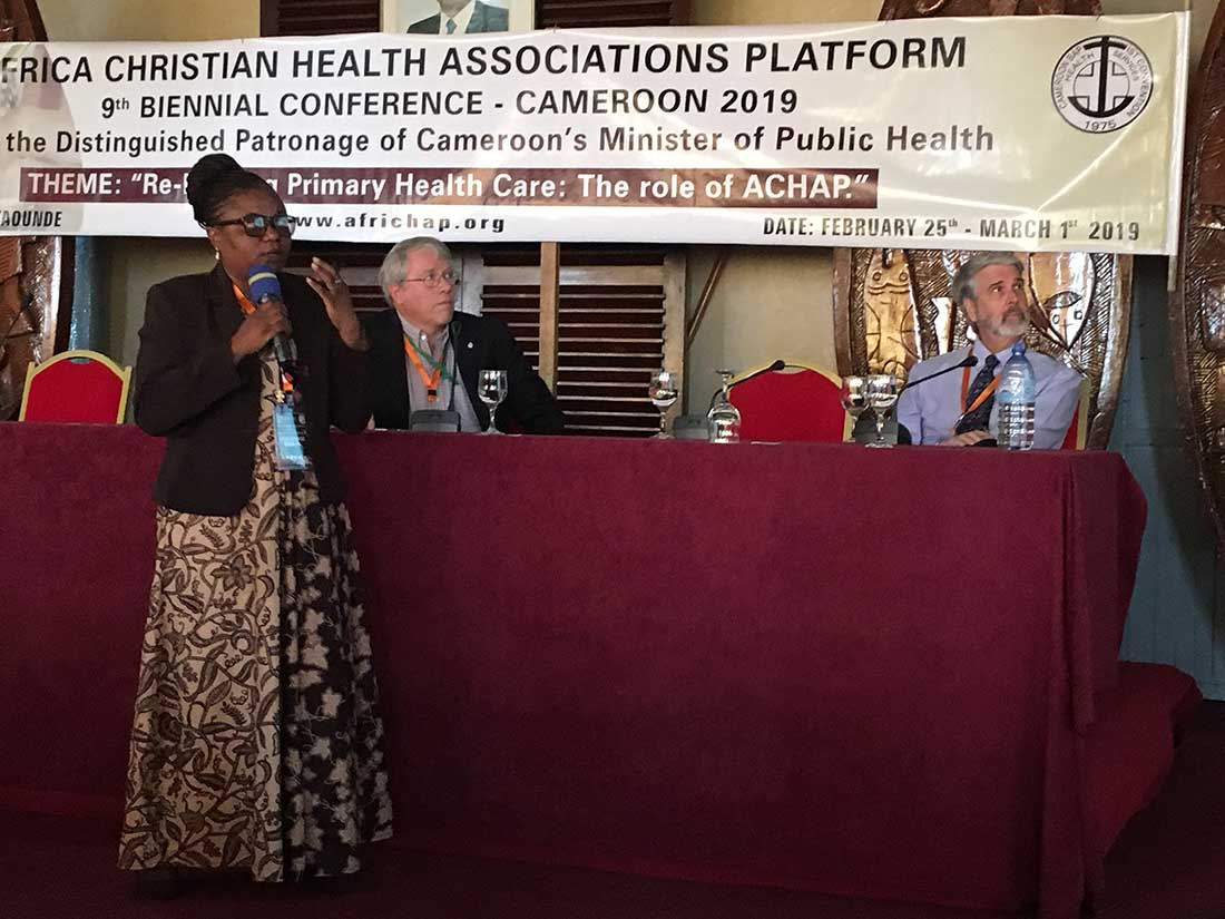 IMA's Frank Dimmock, at left, moderated the session, and Dr. Alice Mudekereza and Dr. Larry Sthreshley facilitated the workshop. (Photo courtesy of CBC Health Services)