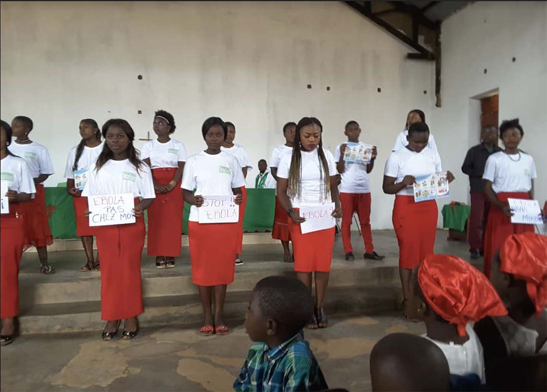 A local choral group shares songs about Ebola prevention songs in Swahili.