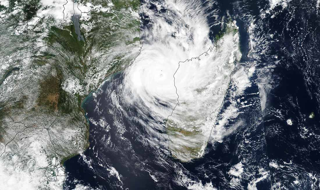 Tropical Cyclone Idai moved inland over East African countries that were already soaked with rain by the same storm system. (Satellite image from NASA Earth Observatory)