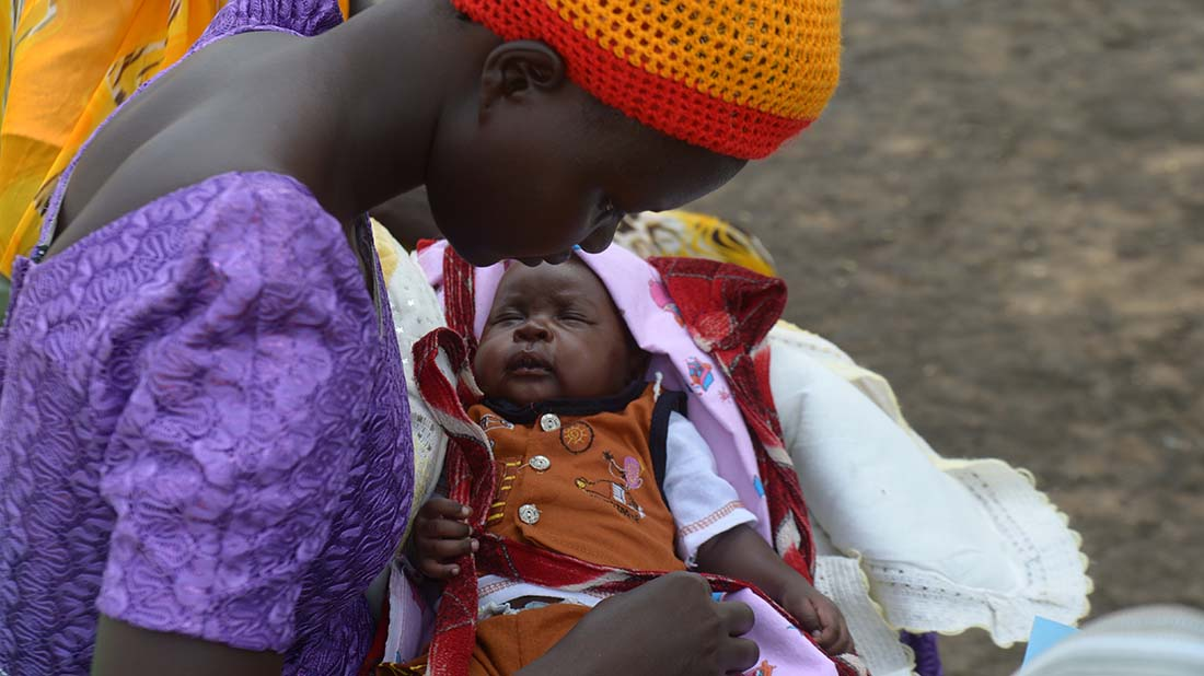 This mother brought her baby to be vaccinated against deadly diseases at a mobile clinic in South Sudan, where many people have been displaced by violence and insecurity.