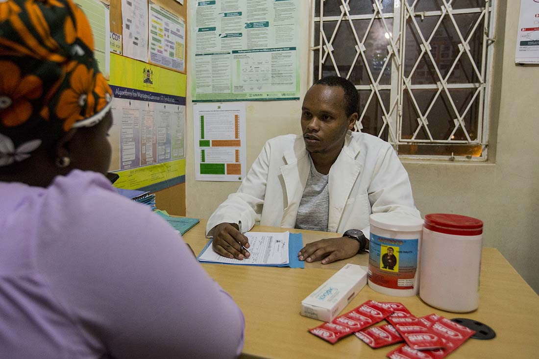 A patient receives family planning counseling in Kenya. (Photo by Craig Thompson/IMA World Health)
